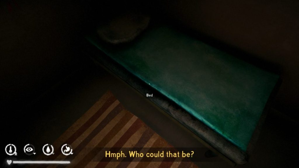 """Scene with character looking at bed, un-captioned phone ringing, subtitles asking """"Who could that be?"""""""