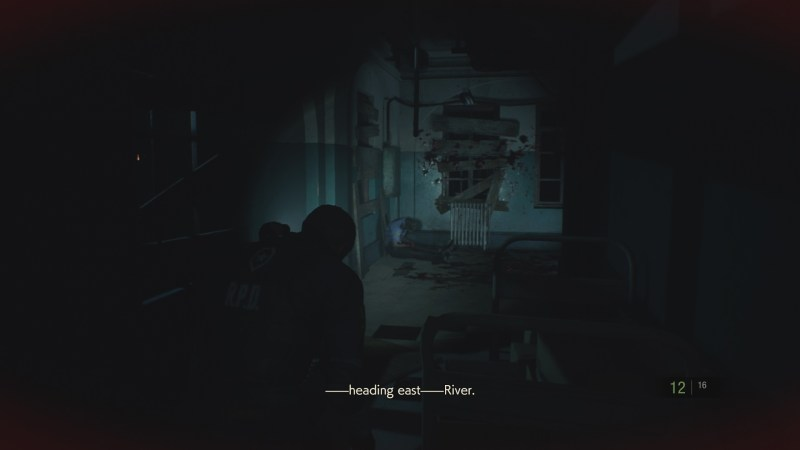 Player character walking toward a boarded up window, illuminated by a flashlight.