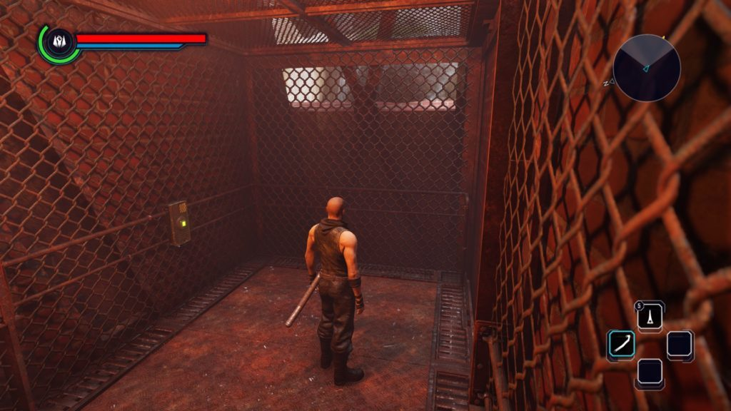 Player character waiting in rusty elevator.