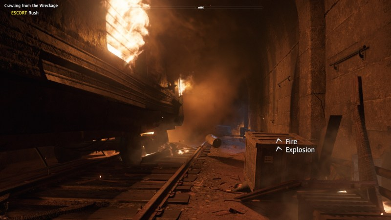 Inside dark train tunnel, train car to the left on fire. Sound subtitles displayed on right.