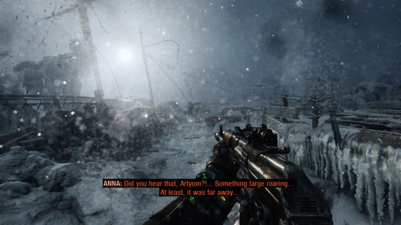 Player character walking in snowy area holding gun. Subtitles for Anna on screen.