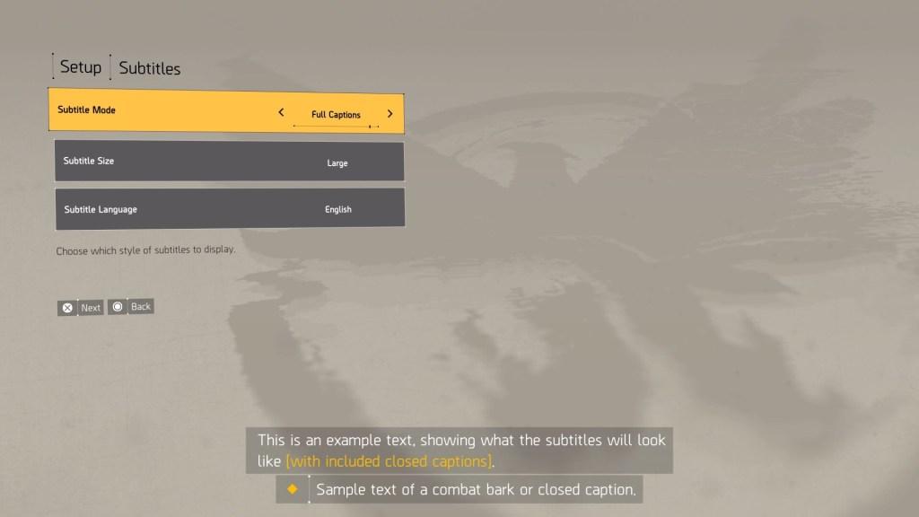 The Division 2 subtitle setup screen