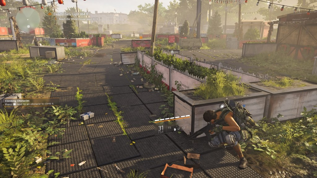 Player character in cover, enemy proximity indicator shows enemies in the distance.