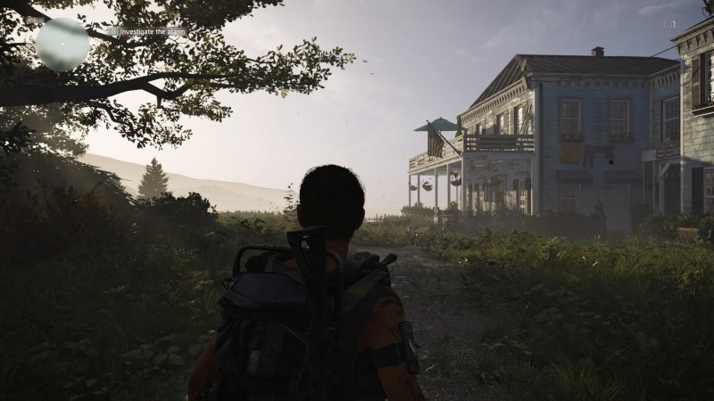 Opening scene of game, player character standing near tree looking at rundown house.