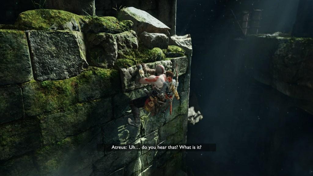 Kratos and Atreus climbing a stone wall, Atreus asks Kratos if he hears a nearby sound.