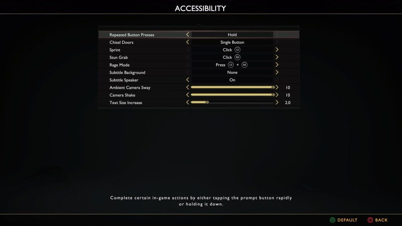 Accessibility options screen