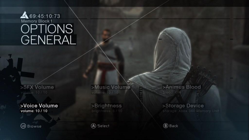 Pause screen showing options menu