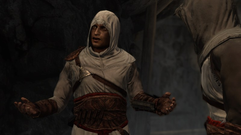 Cutscene showing three assassins talking with each other