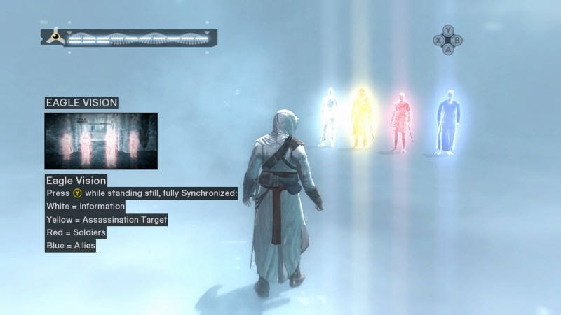 Animus tutorial showing color meanings in Eagle Vision mode