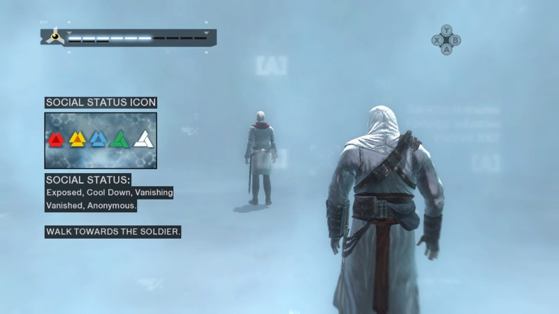 Tutorial in Animus, Altair standing in light blue area, instructions on screen.