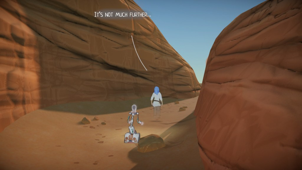 Player character  and her robot walking through a desert mountain pass. Dialogue displayed as a speech bubble.