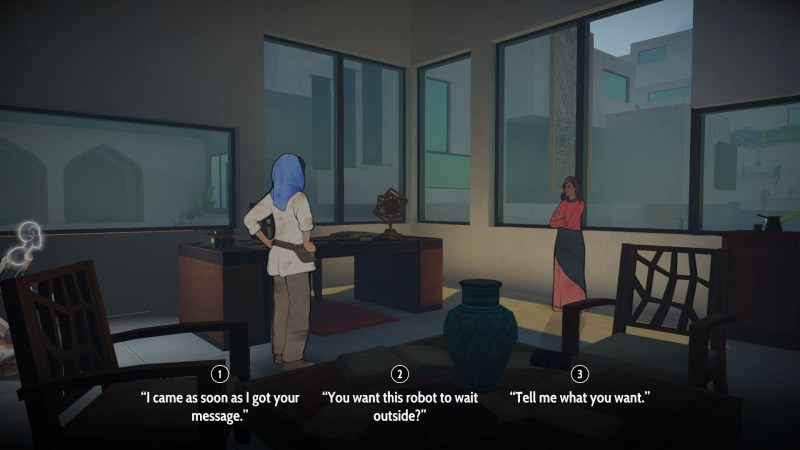 Player character and her mentor inside an office at a university.