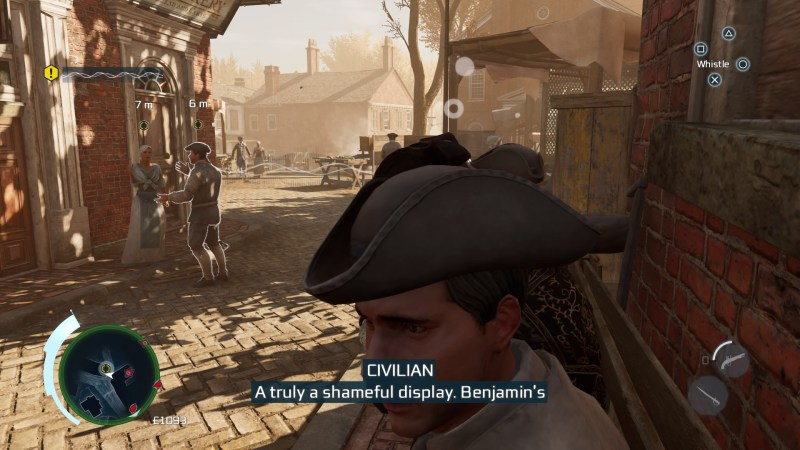 Close-up of Haytham eavesdropping on a conversation.