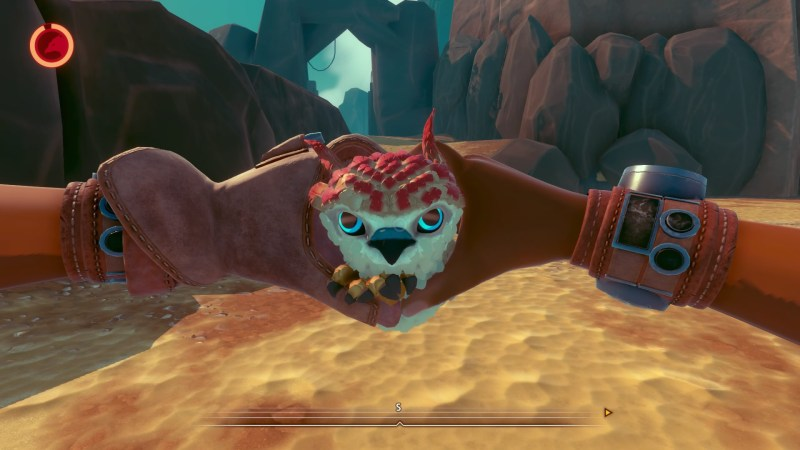 Player character hands formed into a heart shape with baby falcon head poking through.