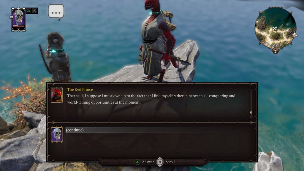Player character and The Red Prince in a dialogue scene. Dialogue box displayed.