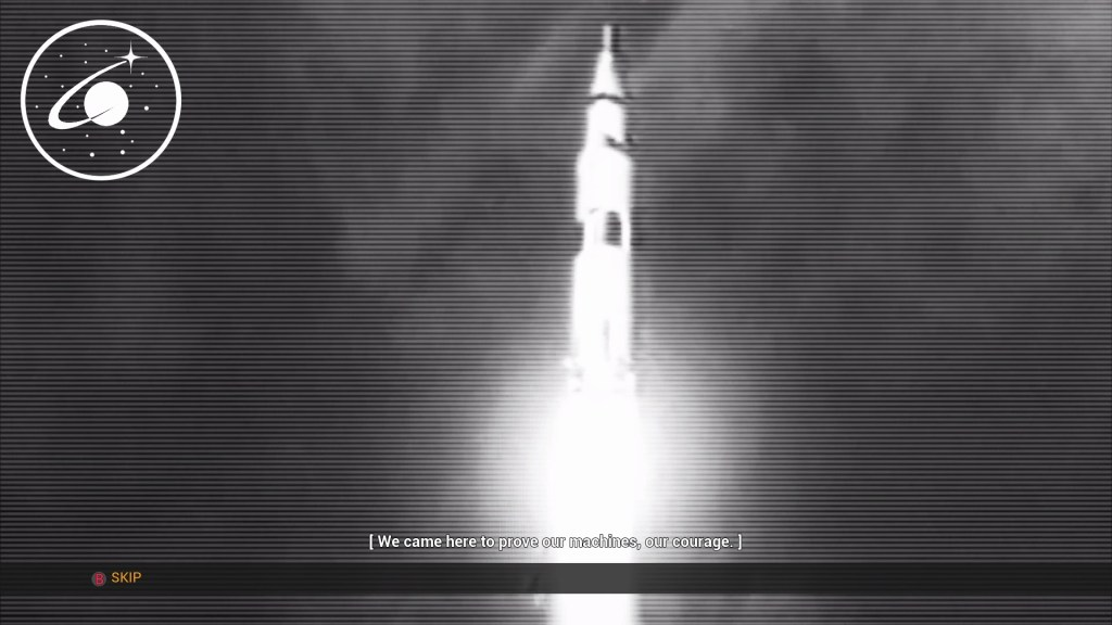 Black and white rocket launch scene. White subtitle text displayed in front of a white area of the screen.
