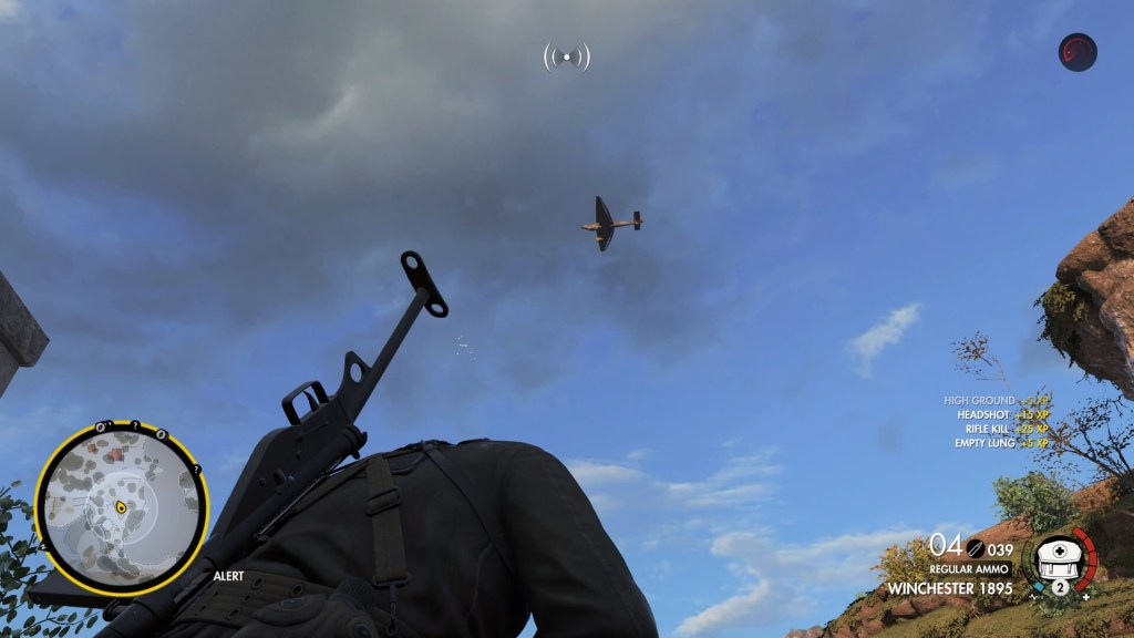 Player character looking at the sky with an airplane flying overhead. Overhead radar icon showing at top of screen.
