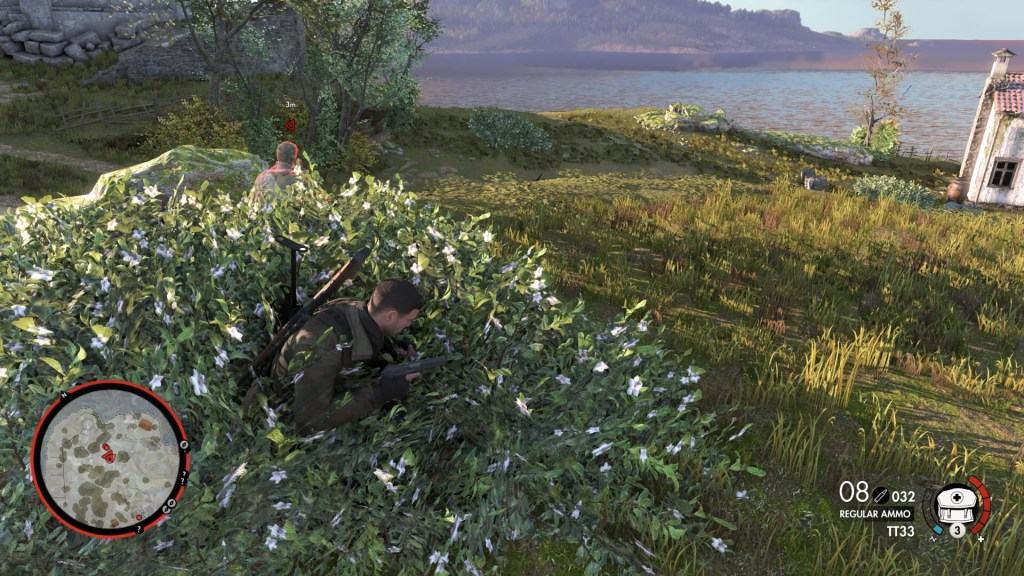 Player character crouched in a bush, minimap outlined in red to indicate enemy is searching.