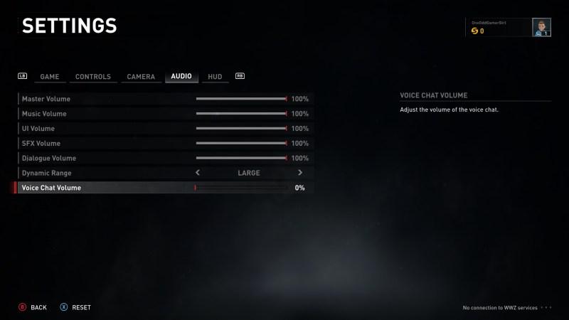 Audio settings menu