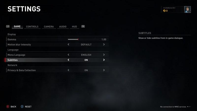 Game settings menu