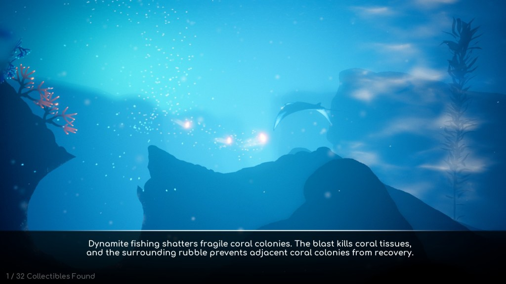 Under sea scene showing lore text example.