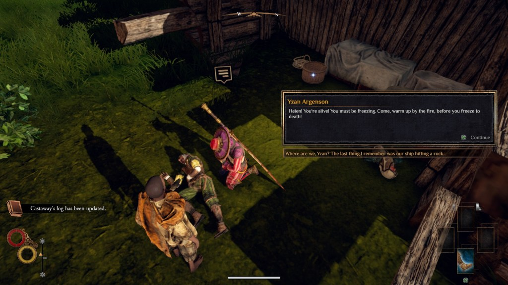 Player character standing near city guard, dialogue and dialogue option displayed in black text box.