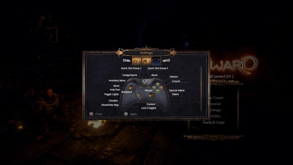 Control mapping menu