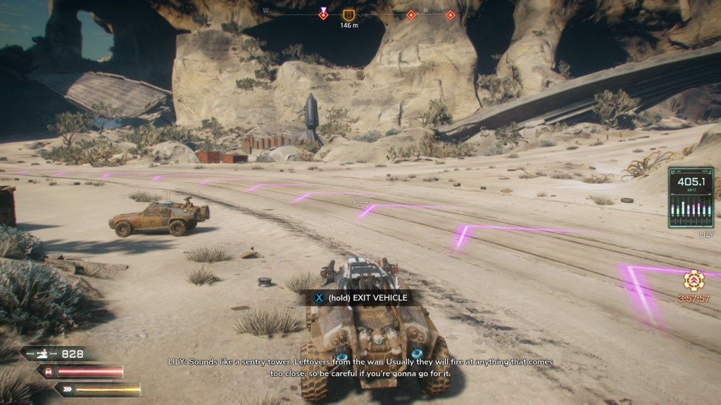Player vehicle driving on dirt path with pink arrow guidelines displayed on the road.