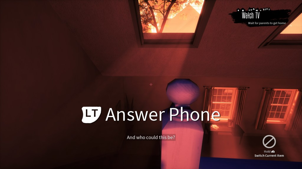 """First-person view with cue, """"LT Answer Phone"""" in very large text."""