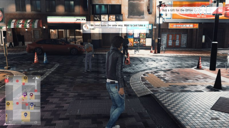 Street scene showing the thoughts of random NPCs displayed in text boxes.