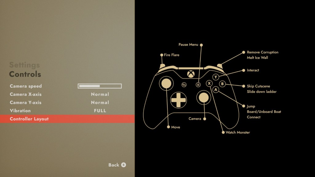 Controller options and layout menu