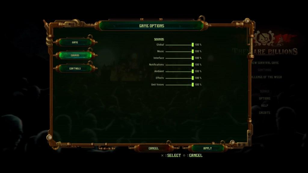 Sound options menu with standard volume sliders