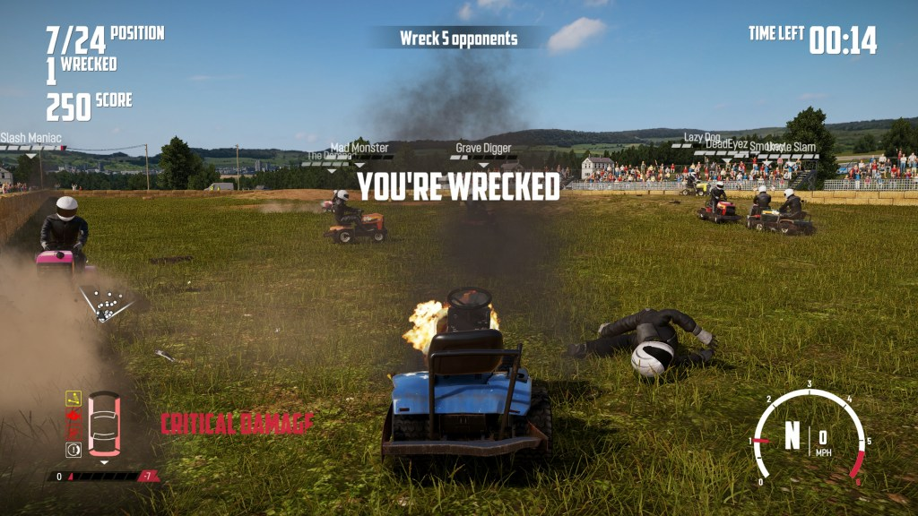 End of session screen indicating that your vehicle has been wrecked.