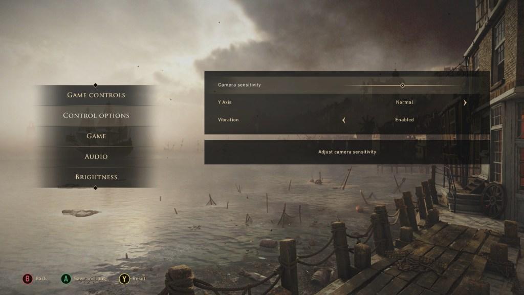 Control options menu.
