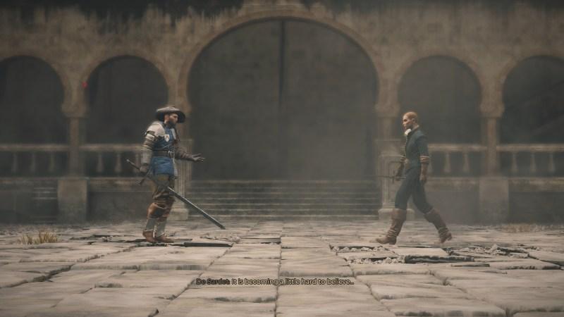 Fighting scene illustrating illegible subtitles.