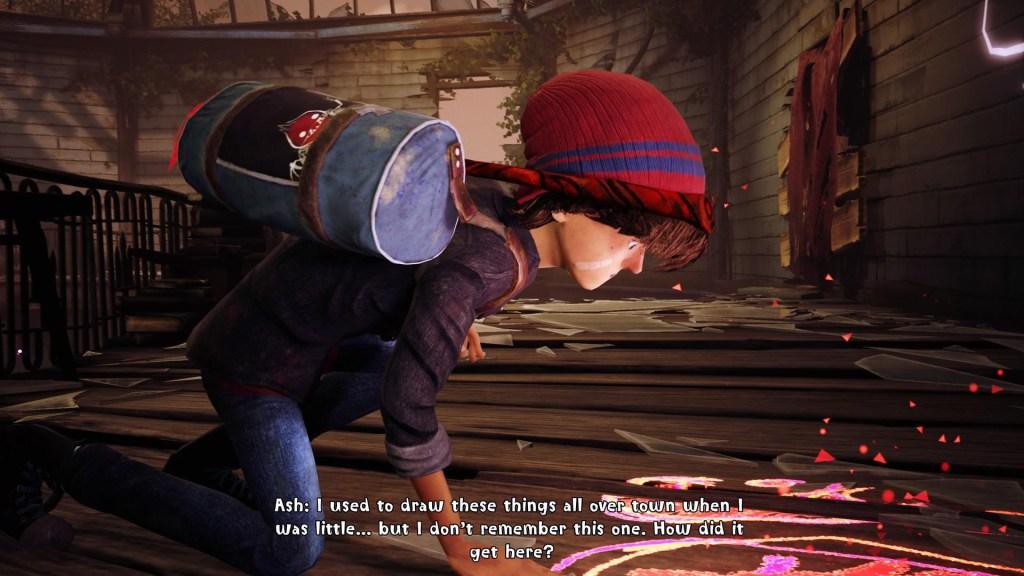 Dialogue scene illustrating the stylized subtitles.
