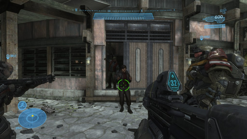 Illustrating the friendly (green) reticle color.