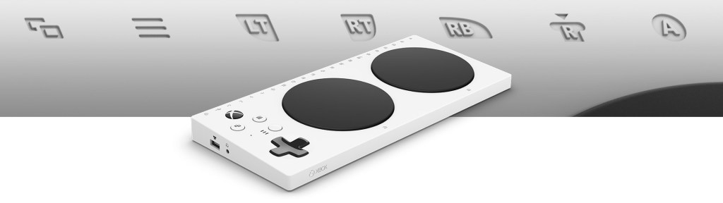Image of the Xbox Adaptive Controller. Clicking the image will bring you to the Xbox Store