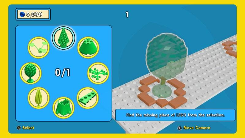 LEGO piece selection screen.