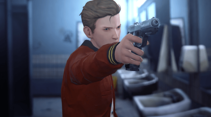 Showing the antagonist Nathan Prescott aiming a gun towards the camera. Nathan is a white teenage boy with short, brown hair, dressed in a red varsity jacket. He is standing in a public restroom.