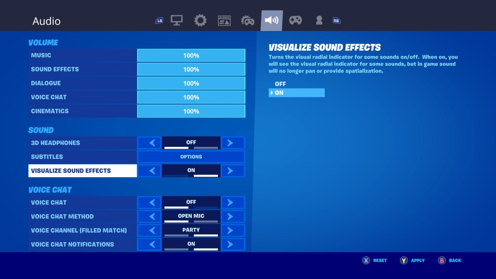 Visualize sound effects option.