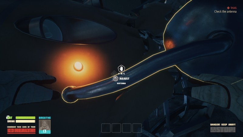 Illustrating how the player must float in space to repair their ship.