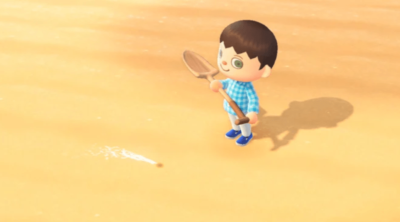 ACNH character standing on beach with a shovel, water spurts from a small hole in the sand.
