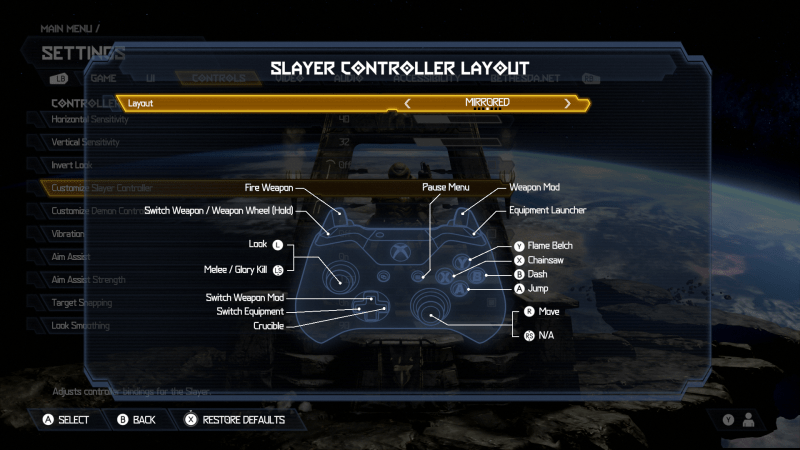 Doom Eternal Slayer Controller Layot. Layout is set to Mirrored. There is an image of an Xbox One Controller. The button mapped layout is: Fire Weapon is set to LT, Switch Weapon / Weapon Wheel (Hold) is set to LB, Look is set to Left Thumbstick, Melee / glory Kill is set to LS, Switch Weapon Mod is set to Up D-Pad, Switch Equipment is set to Left D-Pad, Crucible is set to Right D-Pad, Paus Menu is set to the right options button, Move is set to Right Thumbstick, Jump is set to A, Dash is set to B, Chainsaw is set to X, Flame Belch is set to Y, Equipment Launcher is set to RB and Weapon Mod is set to RT.