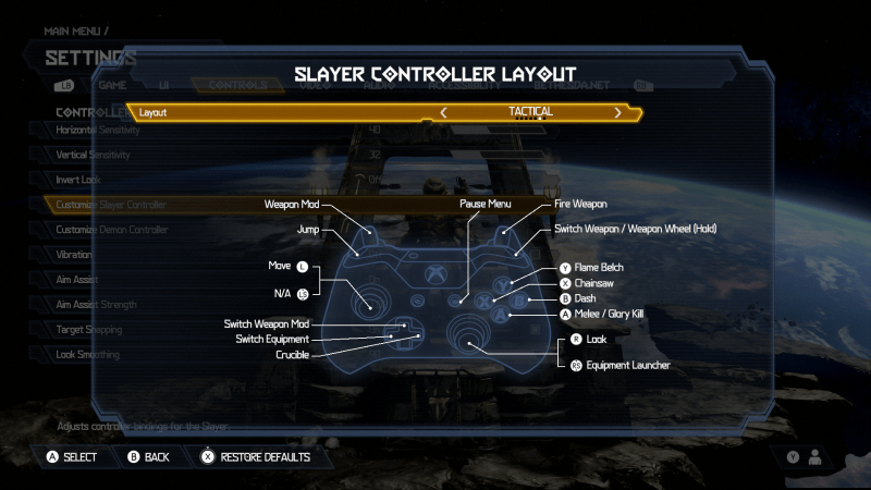 Doom Eternal Slayer Controller Layot. Layout is set to Tactical. There is an image of an Xbox One Controller. The button mapped layout is: Weapon Mod is set to LT, Jump is set to LB, Move is set to the Left Thumbstick, Switch Weapon Mod is set to Up D-Pad, Switch Equipment is set to Left D-Pad, Crucible is set to Right D-Pad, Pause Menu is set to the right options button, Look is set to Right Thumbstick, Equipment Launcher is set to RS, Melee/Glory Kill is set to A, Dash is set to B, Chainsaw is set to X, Flame Belch is set to Y, Switch Weapon / Weapon Wheel (Hold) is set to RB, Fire Weapon is set to RT.
