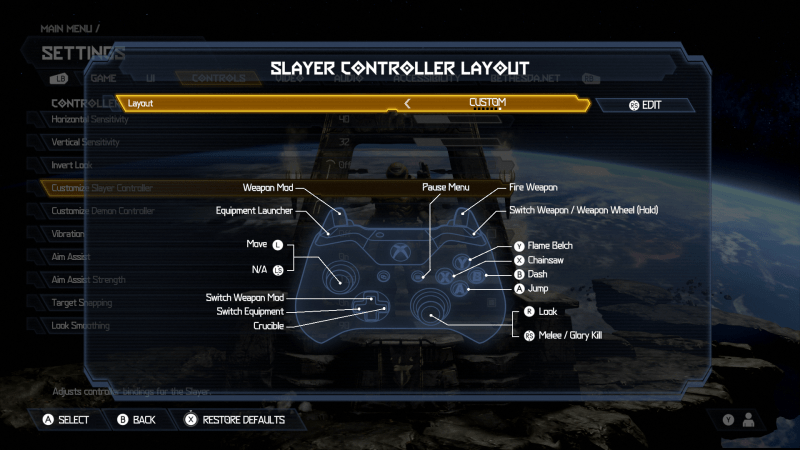 Doom Eternal Slayer Controller Layot. Layout is set to Custom. If you push RS you can edit the layout. There is an image of an Xbox One Controller. The button mapped layout is: Weapon Mod is set to LT, Equipment Launcher is set to LB, Move is set to the Left Thumbstick, Switch Weapon Mod is set to Up D-Pad, Switch Equipment is set to Left D-Pad, Crucible is set to Right D-Pad, Pause Menu is set to the right options button, Look is set to Right Thumbstick, Melee / Glory Kill is set to RS, Jump is set to A, Dash is set to B, Chainsaw is set to X, Flame Belch is set to Y, Switch Weapon / Weapon Wheel (Hold) is set to RB, Fire Weapon is set to RT.