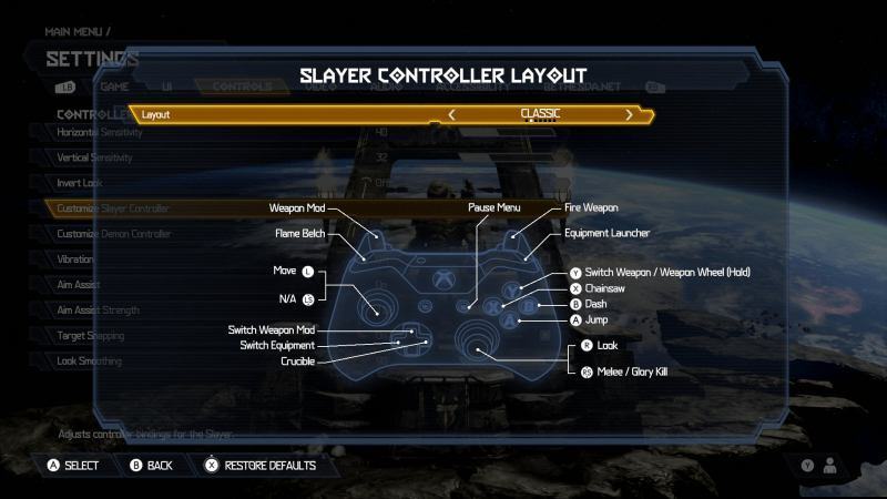 Doom Eternal Slayer Controller Layot. Layout is set to Classic. There is an image of an Xbox One Controller. The button mapped layout is: Weapon Mod is set to LT, Flame Belch is set to LB, Move is set to the Left Thumbstick, Switch Weapon Mod is set to Up D-Pad, Switch Equipment is set to Left D-Pad, Crucible is set to Right D-Pad, Pause Menu is set to the right options button, Look is set to Right Thumbstick, Melee/Glory Kill is set to RS, Jump is set to A, Dash is set to B, Chainsaw is set to X, Switch Weapon / Weapon Wheel (Hold) is set to Y, Equipment Launcher is set to RB, Fire Weapon is set to RT.