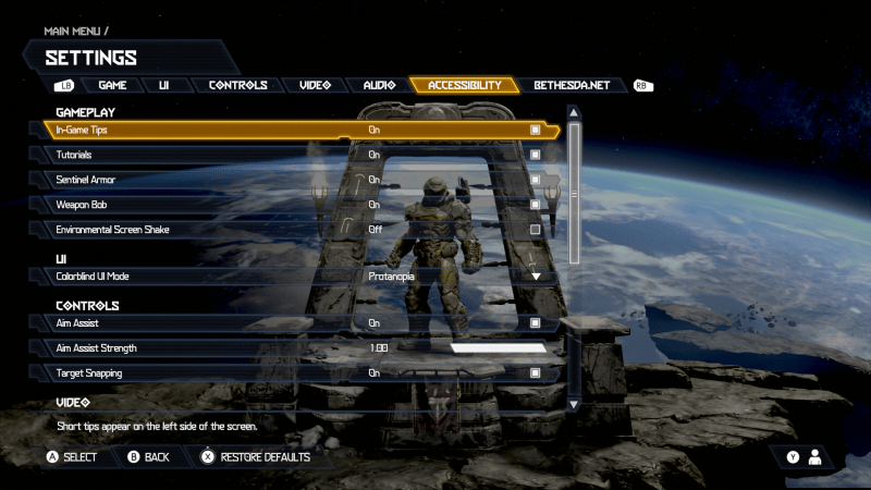 Doom Eternal Accessibility Menu Settings Menu 1 of 2. Options include: In-Game Tips set to ON, Tutorials set to On, Sentinel Armor set to On, Weapon Bob set to On, Environmental Screen Shake set to Off, Colorblind UI Mode set to Protanopia, Aim Assist set to On, Aim Assist Strength set to 1.00, Target Snapping set to On.