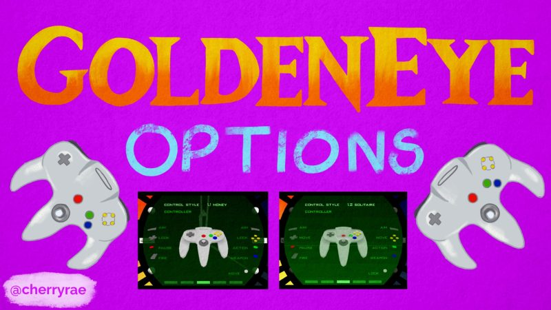 Two N64 controllers and screenshots showing options in GoldenEye