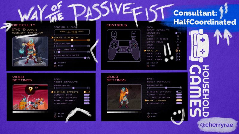 Screenshots showing the options available in Way of the Passive Fist